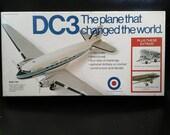 Douglas DC-3 Airliner model airplane kit 1/100  Entex 8504 c.1973 Military WWII Dakota Army C-47 Skytrain Ski Plane North Central Airlines