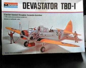 Model Airplane TBD-1 Devastator Torpedo Bomber 1/48 scale kit 1974 Monogram Folding Wings WWII Navy aircraft carrier Naval Aviation Military