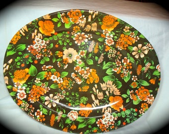 1970s Nevco Brand Brown and Orange Floral Metal Tray Platter.