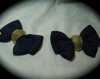 Vintage Navy Blue Bow Shoe Clips.