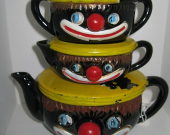 1940s Clown Black Americana Teapot Stacker