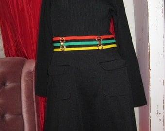 Vintage 70s Black Mod Dress womens size small