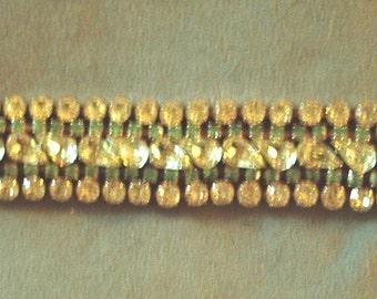1960s Vintage Weiss Bracelet with Jonquil/ Peridot Stones Item #717 Jewelry