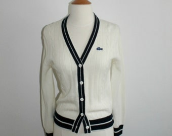 IZOD LACOSTE Preppy Ivory and Navy Cardigan Ladies XS or Small