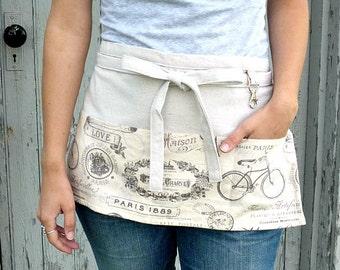 Half Apron - Work Apron - Lavender Paris Bicycle - Vendor - Teacher - Waitress - Gardener - Crafter