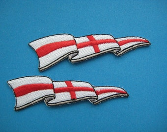 2 pcs Iron-on Embroidered Patch St George Cross Flag 2.75 inch