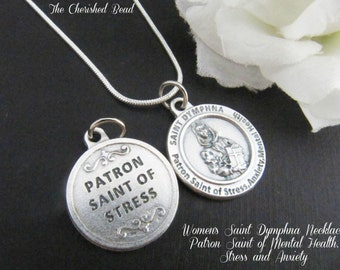Women's Saint Dymphna Necklace - Patron Saint of Mental Health, Stress and Anxiety - Catholic Healing Saint