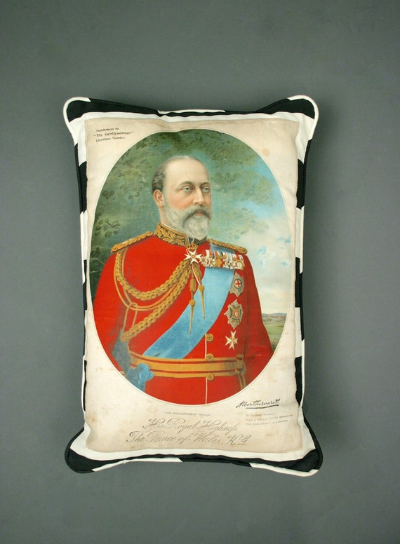Antique Silk Print Pillow. His Royal Highness The Prince of Wales
