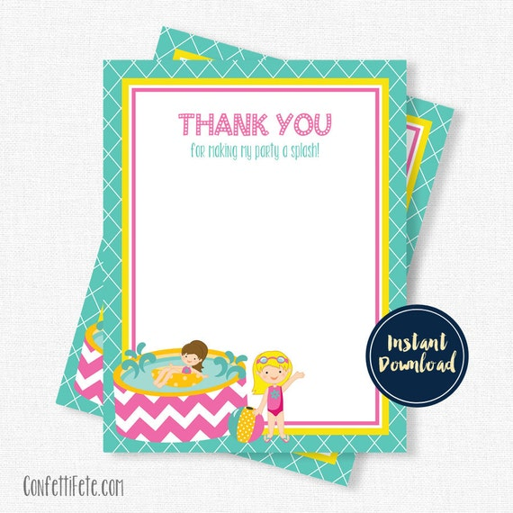 Pool Party Thank You Cards Swimming Thank You Birthday Thank You – Printable Birthday Thank You Cards