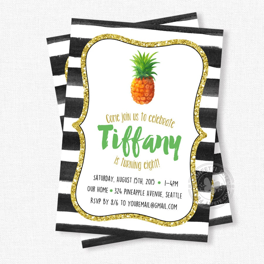 Pineapple Birthday Invitation Pineapple Party Watercolor