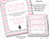 Pink and Gray Chevron Diaper Raffle tickets with sign, girl shower games, instant download, girl baby shower games, bring a pack of diapers