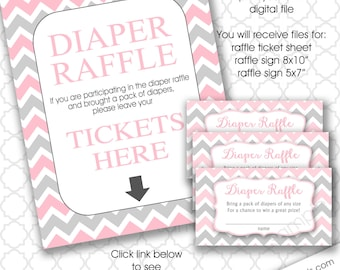 Pink Gray Chevron Baby Shower Diaper Raffle tickets with sign, girl shower games, instant download baby shower games bring a pack of diapers
