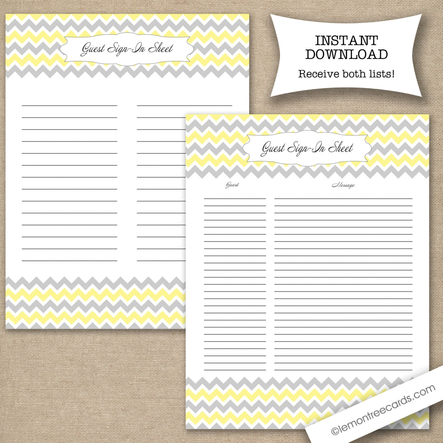 baby shower guest sign in sheet two versions included yellow