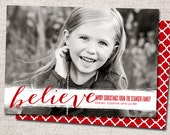 "Christmas card, Photo Christmas card, Holiday Card, Printable Christmas card, Modern Christmas card (""Believe"")"