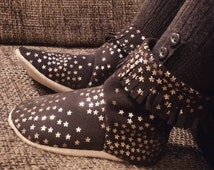 Ready to Ship Size 7 Soft-Soled Dark Brown with Metallic Copper Stars Pull-On Fringed Suede Boots for Toddlers, Toddler Shoes