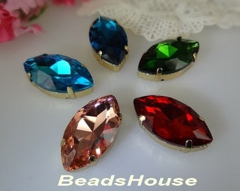 2pcs  Vintage Faceted Horse's eye Sharpe Crystal Stones Brass Ox Setting - 15 x 30mm