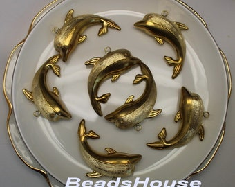 High Quality  Raw Brass Dolphin  Pendant  Charms ,Nickel Free.