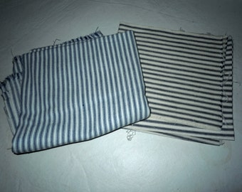 Vintage Blue striped cotton Ticking Fabric