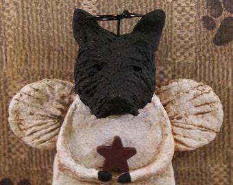 Scottish Terrier Angel, OOAK, hand-sculpted from  papier mache, SCOTTIE ANGEL