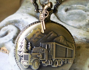 Steampunk Pocket Watch - Road Warrior Necklace  Semi Tractor Trailer Big Truck  Over the Road Hauler  C 8-12
