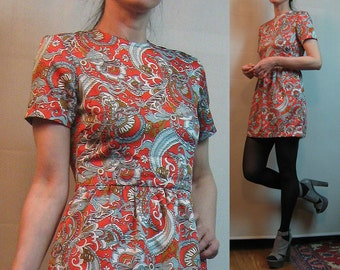 60s GOLD SILVERY BLUE Paisley vtg Short Sleeve Persimmon Orange Old Gold Pewter Silver Gray Mod Mini Dress xs Small 1960s