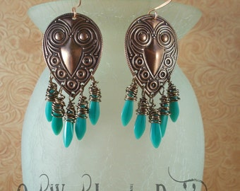 Gypsy Cowgirl Earrings - Copper Findings with Wire Wrapped Turquoise Czech Glass Dagger Beads