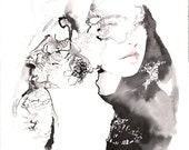Original Illustration Pen, Graphite & Watercolour, Fashion Illustration. Lace Veil