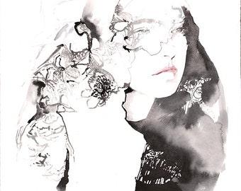 Original Illustration Pen, Graphite & Watercolour, Fashion Illustration. Lace Veil