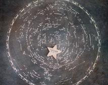 Zodiac Constellation Print with Personalized Baby Name & Birthdate, Map of the Night Sky, Stars Print, Nursery Print, Child Name Print