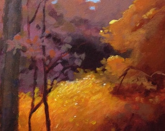 "Original Acrylic Abstract landscape Iowa Trail - 10"" x 20"""