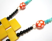 Yellow Beads Black Tassel Long Statement Colored Acrylic Beads Handmade Necklace