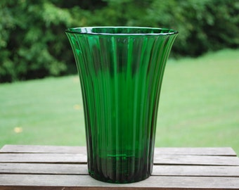 Large Vintage Napco Emerald Green Fluted Vase