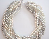 Blush statement pearl necklace Custom order necklaces bride bridal pale pink blush silver grey white braided twisted chunky statement pearl