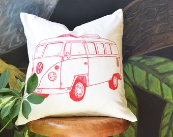 Throw Pillow - Throw Pillow Cover - Screen Printed Throw Pillow - Pillow Case - Pillow Cover - Volkswagon Bus - Handmade Pillow - Home Decor