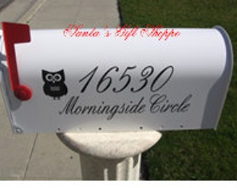 Vinyl Address Decal (2 sides) for your MAILBOX (one for each side of mailbox) plus Owl - Outside