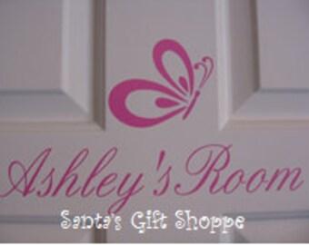 Vinyl NAME Wall/Door Decal plus Butterfly - Children - Nursery - Home Decor