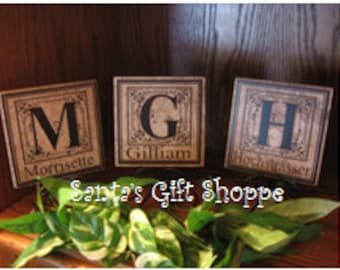 6x6 Personalized Monogram Tile, Wedding Gift, Family Reunion, Wedding Shower, Anniversary, Home Decor, Custom Made Gift