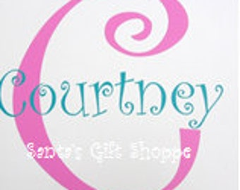 Girls Monogram Letter with First Name - Vinyl Wall Decal - Children - Nursery - Home Decor