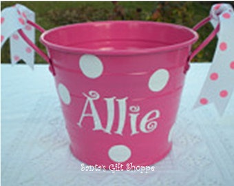 Personalized Vinyl Name Decal & Dots for Bucket,Summer, Sand Pail,BUCKET NOT INCLUDED, Children, Baby, Nursery, Easter, Christmas