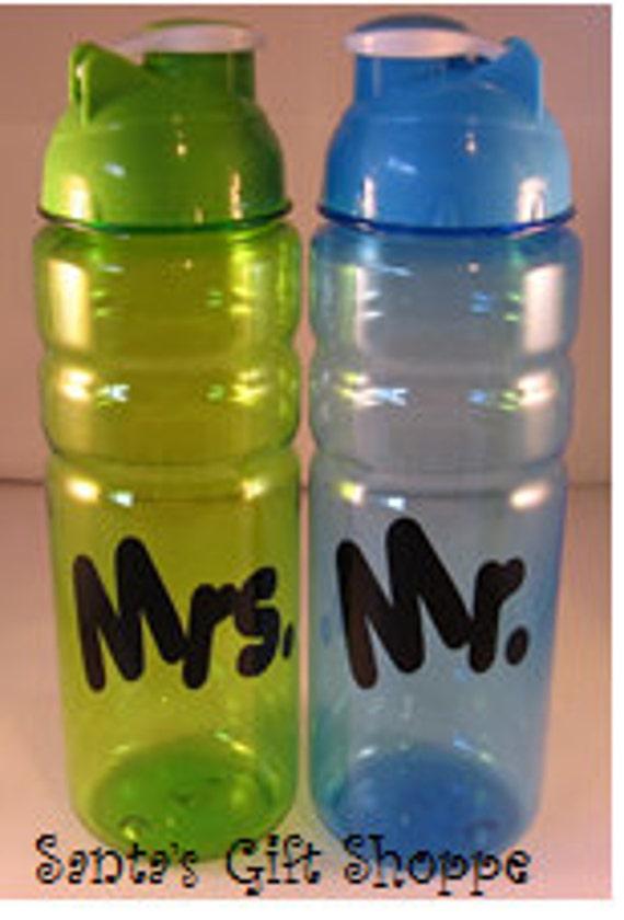 Mr. & Mrs Vinyl Decal Stickers -BOTTLES NOT INCLUDED - Kitchen Decor - Wedding Gift - Set of 2 - Custom