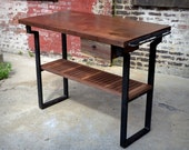 Reclaimed Walnut Wood and Steel Kitchen Island