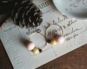 Beaded Hoop Earrings, Little Vintage Bead Hoops, Rustic Wood Bead Earrings, Shabby Bohemian Chic Earrings for Women