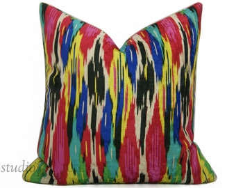 Ikat Velvet Pillow Cover  - Velvet - Decorative pillow cover - 20 inch - Iman - Painted Pavillion - Jewel - ready to ship