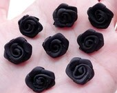 Small Rose Applique / Little Fabric Rose Bud / Satin Ribbon Rose Flower (8pcs / 1.5cm / Black) Rose Decoration Floral Jewellery Making B225