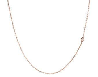 Delicate Diamond Necklace, Sideways Diamond Necklace, Asymmetrical, Kite Diamond, Rose Gold Necklace, April Birthstone, One of a kind, Nixin