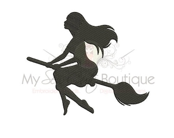 Witch Embroidery Design - 8 Sizes - Instant Download