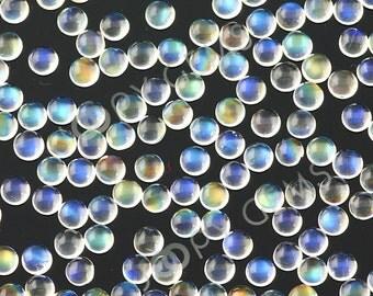 Rainbow Moonstone Cabochon 3mm round, AAA grade - 1 cab