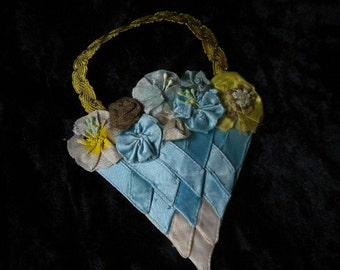 Lovely Blue satin Ribbon Work Applique Vintage Millinery trims (FFs072015-03)