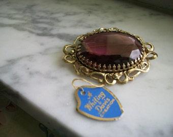 Whiting & Davis Amethyst Purple Glass Brooch Pin