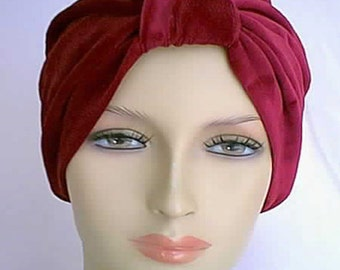 Handmade Theatrical Burgundy Velvet All Occasion Costume Turban
